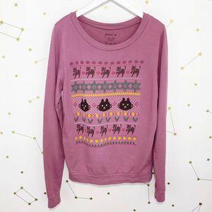 Modcloth • Purple Cat Cross Stitch Sweatshirt